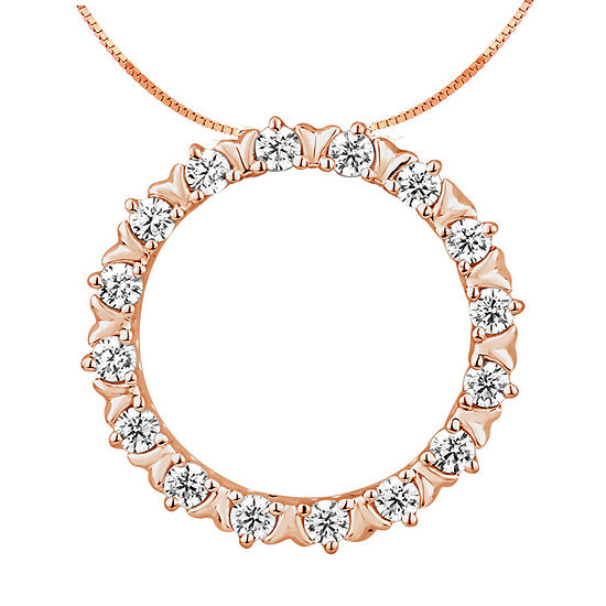 Womens 1/4 CT. T.W. Genuine Diamond 10K Rose Gold Pendant