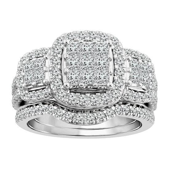 Love Lives Forever Womens 1 1/2 CT. T.W. Genuine White Diamond 10K White Gold 3-Stone Engagement Ring