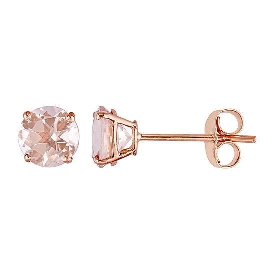 Genuine Pink Morganite 14K Rose Gold Stud Earrings