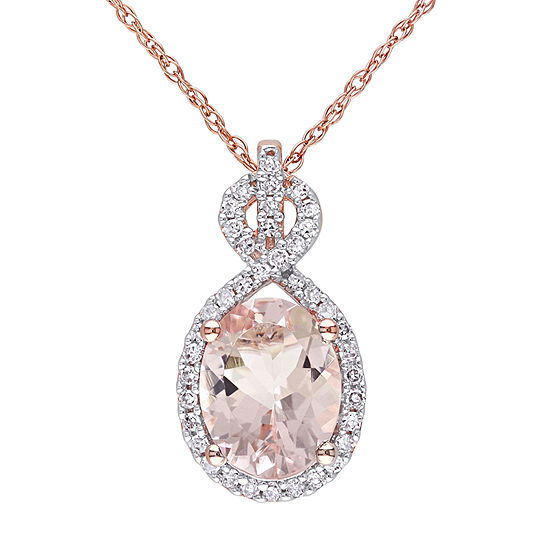 Womens 1/6 CT. T.W. Genuine Pink Morganite 10K Rose Gold Pendant Necklace