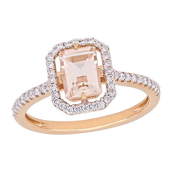Womens 1/4 CT. T.W. Genuine Pink Morganite 14K Rose Gold Cocktail Ring