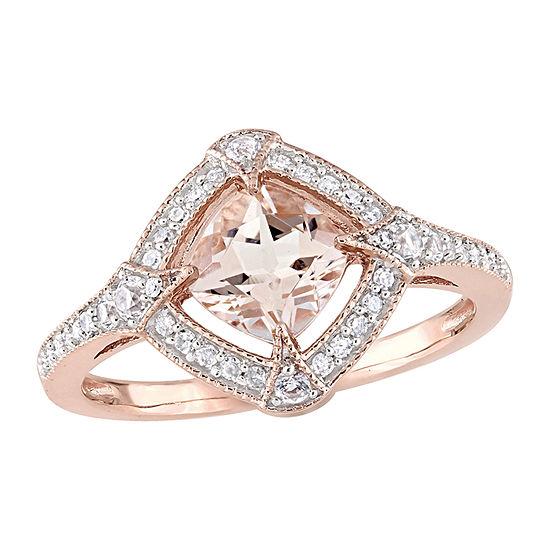Womens 1/6 CT. T.W. Genuine Pink Morganite 10K Rose Gold Cocktail Ring