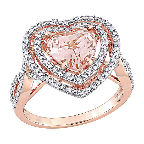 Womens 1/3 CT. T.W. Genuine Pink Morganite 10K Rose Gold Heart Cocktail Ring