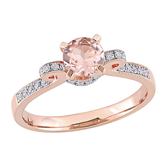 Womens 1/4 CT. T.W. Genuine Pink Morganite 14K Rose Gold Cocktail Ring