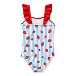 Okie Dokie Toddler Girls Striped One Piece Swimsuit