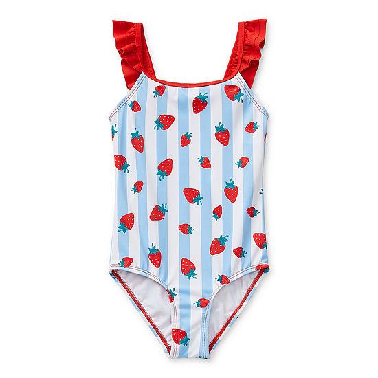 Okie Dokie Toddler Girls Striped One Piece Swimsuit