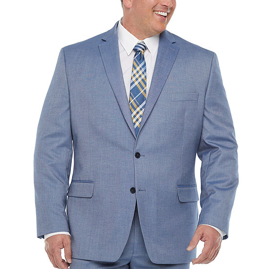 Shaquille O'Neal XLG Mens Pin Dot Stretch Classic Fit Suit Jacket-Big and Tall