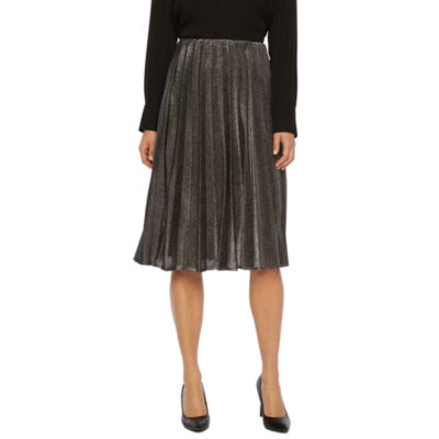 Worthington Womens High Waisted Midi Pleated Skirt