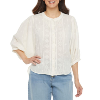a.n.a Womens 3/4 Sleeve Dobby Blouse