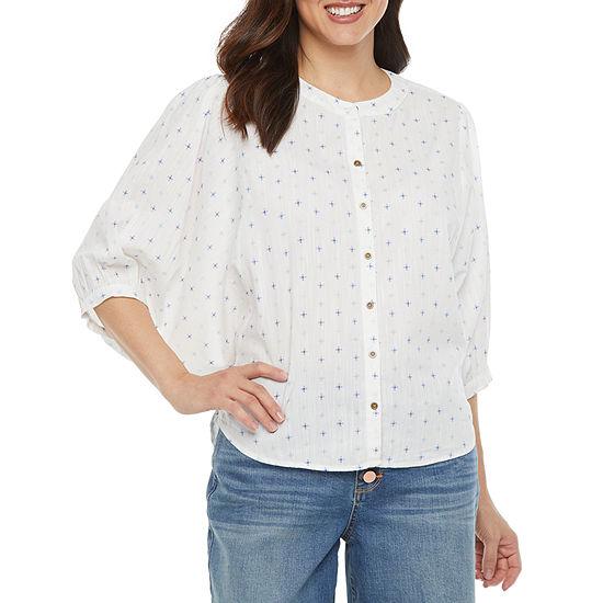 a.n.a Womens 3/4 Sleeve Dobby Blouse