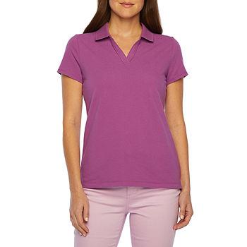 St. John's Bay Petite Womens Short Sleeve Polo Shirt