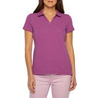 St. Johns Bay Petite Womens Short Sleeve Polo Shirt Deals