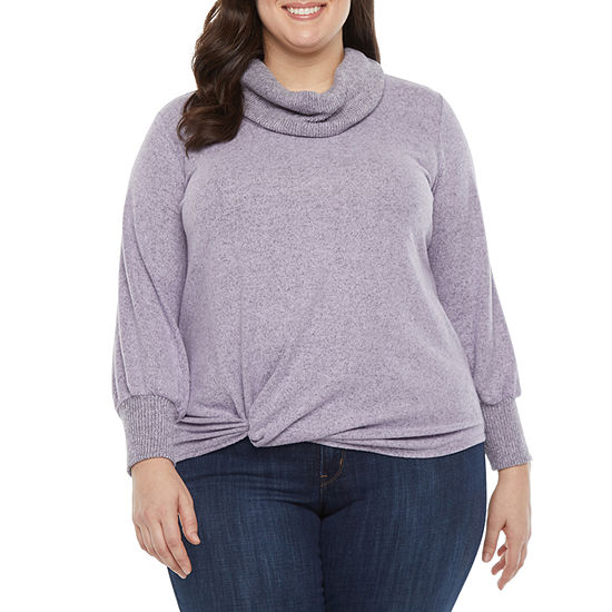 Alyx-Plus Womens Cowl Neck Long Sleeve Pullover Sweater
