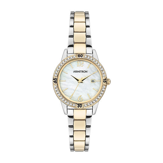 Armitron Womens Crystal Accent Two Tone Bracelet Watch-75/5658mptt