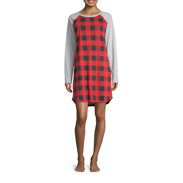 North Pole Trading Co. Buffalo Plaid Family Womens Nightshirt Long Sleeve Round Neck