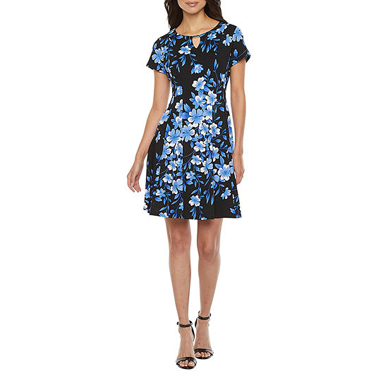 Alyx Short Sleeve Floral Fit & Flare Dress - Petite