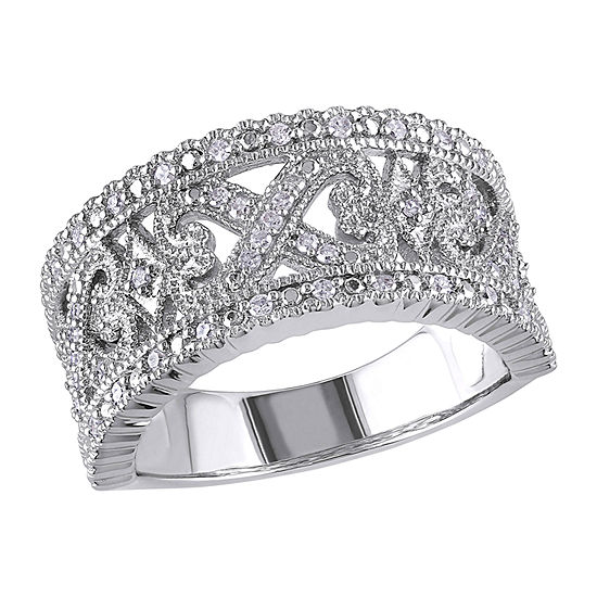 4.5MM 1/4 CT. T.W. Genuine White Diamond Sterling Silver Band