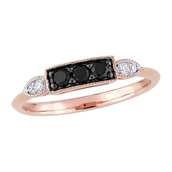 2MM Diamond Accent Genuine Black Diamond 10K Rose Gold 3-Stone Band
