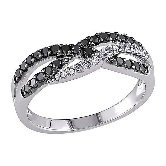 Womens 2MM Diamond Accent Genuine White Diamond 10K White Gold Band