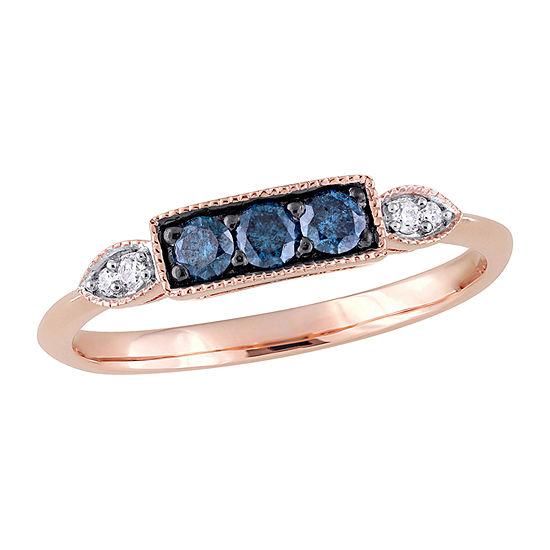 2MM Diamond Accent Genuine Blue Diamond 10K Rose Gold Band