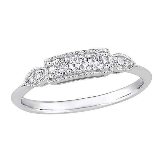 Womens 1/4 CT. T.W. Genuine White Diamond 10K White Gold 3-Stone Band