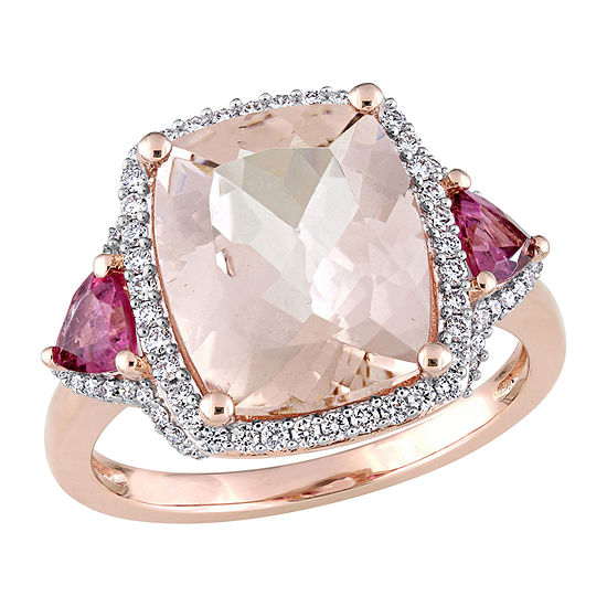 Womens 1/3 CT. T.W. Genuine Pink Morganite 14K Rose Gold Cocktail Ring