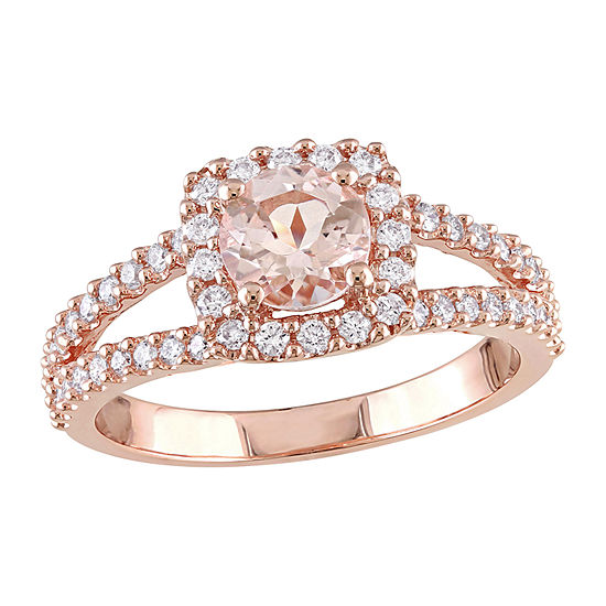 Womens 1/2 CT. T.W. Genuine Pink Morganite 14K Rose Gold Cocktail Ring