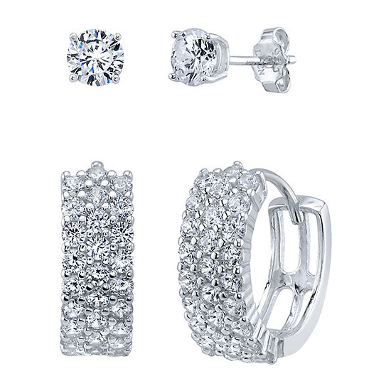 White Cubic Zirconia Sterling Silver Earring Set