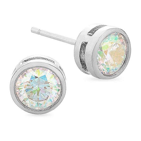 Diamonart Preciosa Aurora Borealis 1 1/2 CT. T.W. White Cubic Zirconia Sterling Silver 6mm Stud Earrings
