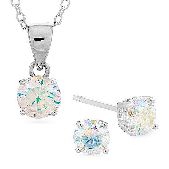 Diamonart Preciosa Aurora Borealis 3 CT. T.W. White Cubic Zirconia Sterling Silver Jewelry Set