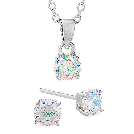 Diamonart Preciosa Aurora Borealis 1 5/8 CT. T.W. White Cubic Zirconia Sterling Silver Round 2-pc. Jewelry Set