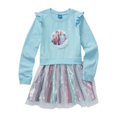 Disney Little & Big Girls Long Sleeve Frozen A-Line Dress