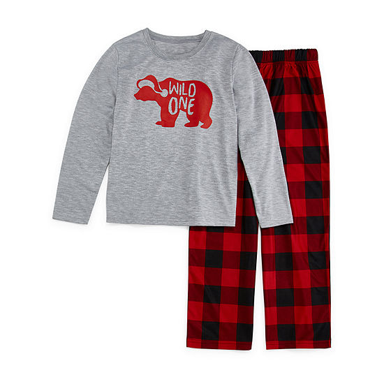 North Pole Trading Co. Buffalo Plaid Family Unisex 2-pc. Pant Pajama Set Big Kid Husky
