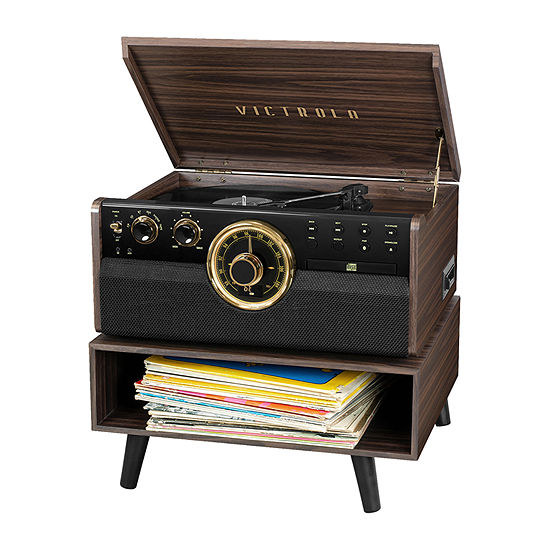 Victrola VTA-270PB-ESP 6-in-1 Bluetooth Mid-Century Record Player with 3-Speed Turntable, CD, Cassette Player, Radio and Storage Stand