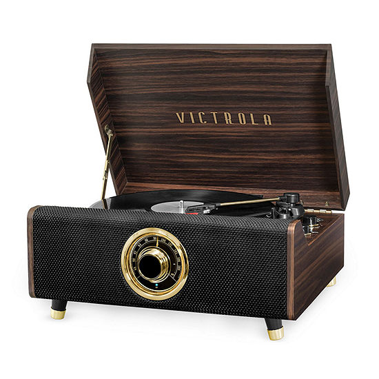 Victrola VTA-330B 4-in-1 Highland Bluetooth Record Player with 3-Speed Turntable and FM Radio