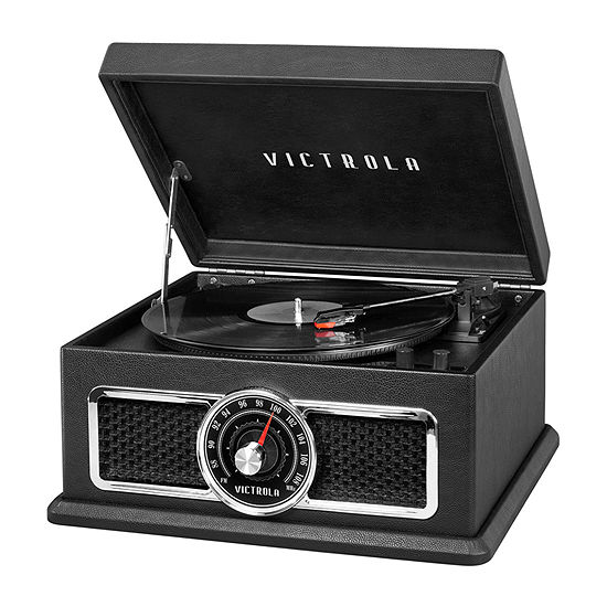 Victrola VTA-810B 4-in-1 Plaza Nostalgic Bluetooth Record Player with 3-Speed Turntable and FM Radio