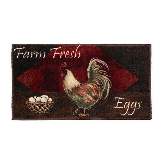 Vintage Rooster Kitchen Washable Rectangular Rug