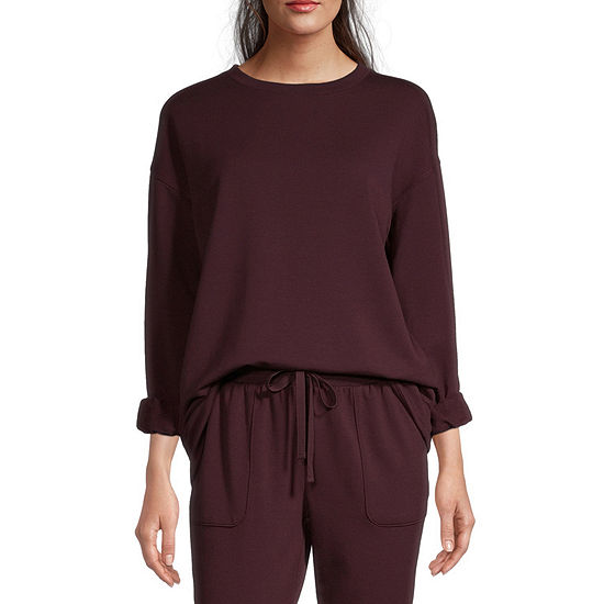 Ambrielle Womens Round Neck Pajama Top