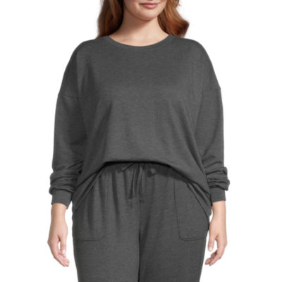 Ambrielle Womens Plus Round Neck Pajama Top