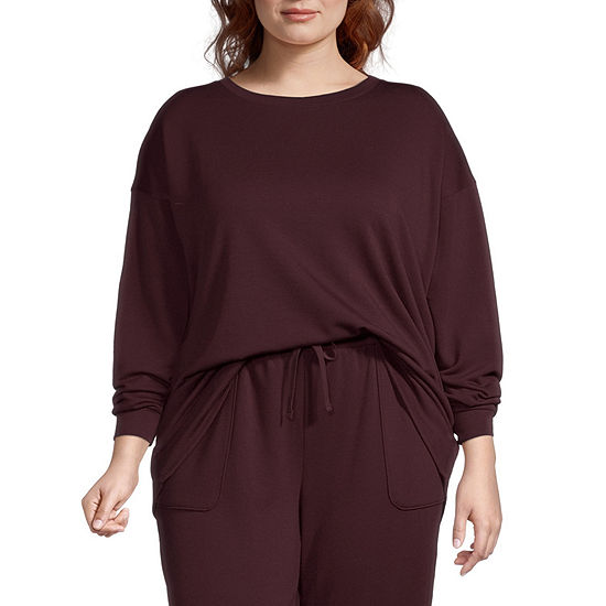 Ambrielle Womens Plus Round Neck Pajama Top