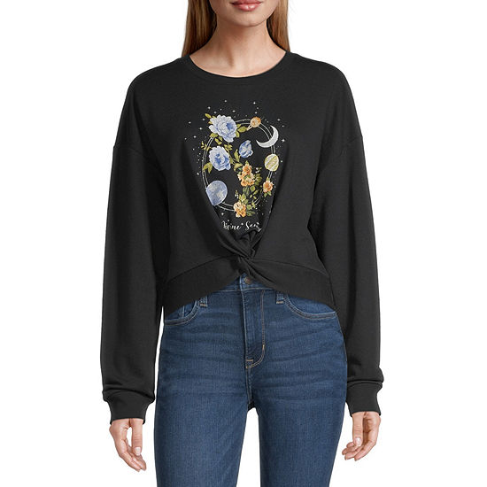 Cut And Paste Juniors Womens Crew Neck Long Sleeve Sweatshirt