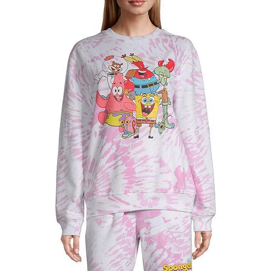 Juniors Womens Crew Neck Long Sleeve Spongebob Sweatshirt