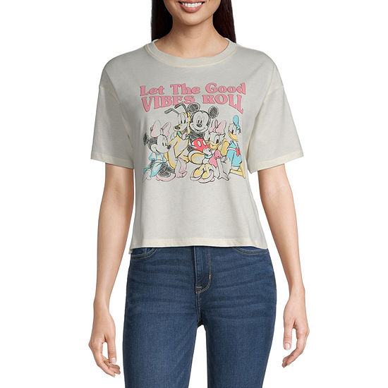 Juniors Womens Crew Neck Short Sleeve Mickey and Friends Graphic T-Shirt