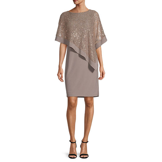 R & M Richards 3/4 Sleeve Sequin Lace Overlay Sheath Dress
