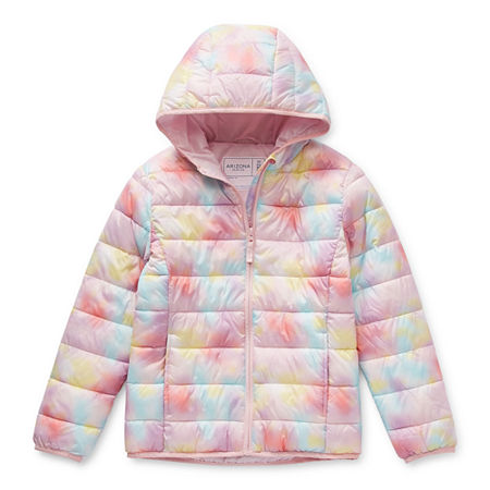 Arizona Packable Little & Big Girls Hooded Midweight Puffer Jacket, Large (14) , Multiple Colors