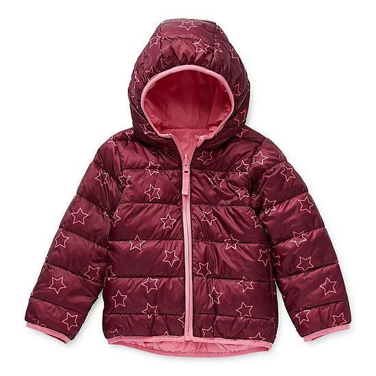 Okie Dokie Toddler Girls Hooded Packable Reversible Lightweight Puffer Jacket