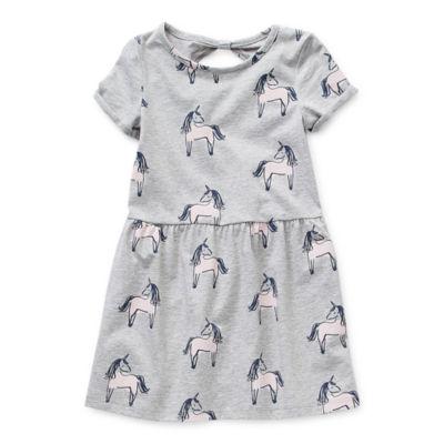 Okie Dokie Toddler Girls Short Sleeve Striped A-Line Dress