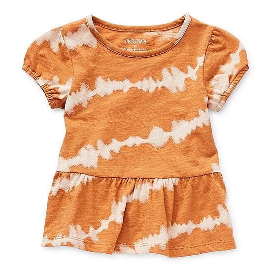 Okie Dokie Little Girls Round Neck Short Sleeve T-Shirt