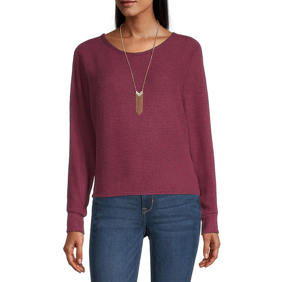 by&by-Juniors Womens Round Neck Long Sleeve Pullover Sweater