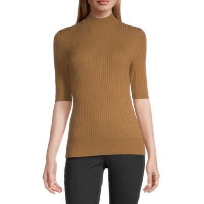 Worthington Womens Mock Neck Short Sleeve Pullover Sweater